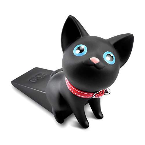 Door Stopper Decorative Cute Cat Door Stopper Non-Slip Non-Scratching Works on All Floor Surfaces Creative Door Stopper Pack (Black)