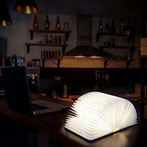 Baulanna Lampara Libro Plegable, Madera Plegable Libro Lámpara Decorativa LED Magnética Mesa Lámpara de Escritorio con Batería 2000mAh Papel Cable USB Ideal para Regalo (21.5 x 17,5 x 2.5 cm) (huhei)