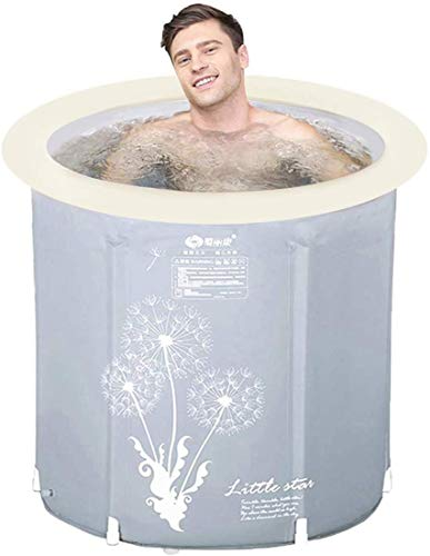Hyun times Portable Foldable Bathtub, Plastic Free Standing Bathing Tub - Ideal for Small Shower Stall, Bathroom Spa, Easy to Install (Size : 27.6 inch)
