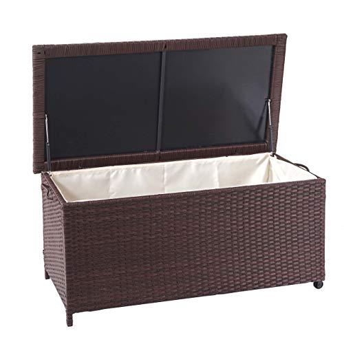 Mendler Poly-Rattan Kissenbox HWC-D88, Gartentruhe Auflagenbox Truhe ~ Premium braun, 51x115x59cm 250l