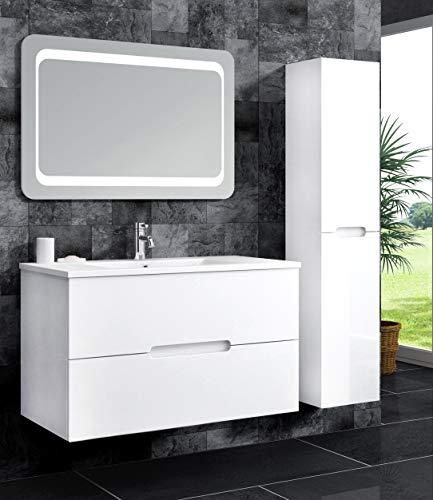 Oimex Tiana 90 cm Badmöbel mit LED Spiegel und 1 Seitenschrank, Hochglanz Weiß Badezimmer Set mit viel Stauraum Waschtisch Unterschrank Keramik Waschbecken