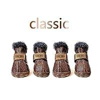 kawayi-桃 ペット犬靴冬の超暖かい4ピース/セット犬のブーツ綿アンチスリップXS XXL靴小さなペット製品チワワ防水-Classic Brown-L (4)