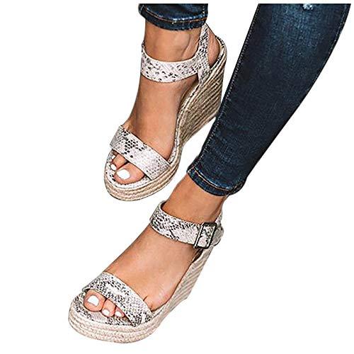 Winging Sandalias Verano De Las Mujeres De Gran Tamaño Con Hebilla De Cuña Cinturón De Punta Abierta Talón Pendiente Sandalias De Tejido Zapato De Cuña Para Mujer