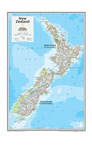 National Geographic: New Zealand Wandkarte, 35,6 x 55,9 cm, Kunstdruck
