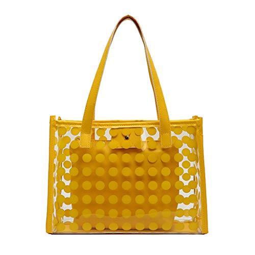 Calvinbi Taschen Damen Umhängetasche Handtasche Tote Sommer Strandtasche Dot Schwarz Gelb Transparent Taschen Durchsichtig Schulrucksack Clear Bookbag Reise Backpack