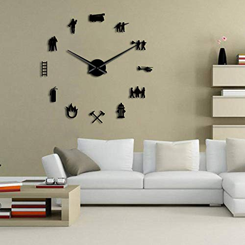 N /A Wall Clock Firemen Hydrant Exclusive Large DIY Wall Clock Extinguisher Fire Fighting Truck Fire Department Decor Fire Tools Clock Watch for Any Room in Home School Caravan Garage