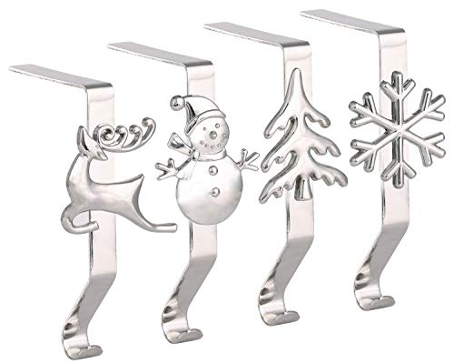 Yuokwer - Set di 4 ganci per calza di Natale per camino, decorazione natalizia, colore: argento