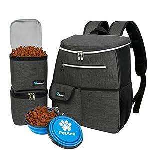 PetAmi Dog Travel Bag Backpack | Backpack Organizer with Poop Bag Dispenser, Multi Pocket, Food Container Bag, Collapsible Bowl | Weekend Pet Travel Set for Hiking Overnight Camping Road Trip (Pink)