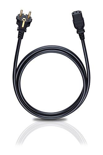 Oehlbach Powercord C13 / 150 - Netzkabel mit Schukostecker & Kaltgerätekupplung - VDE geprüft - Hochflexibel, hervorragende Kontaktsicherheit - 1,50 m - schwarz