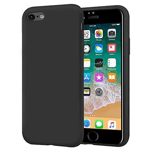 KUMEEK iPhone 6s Case/iPhone 6 Case, Anti-Slip Liquid Silicone Gel Rubber with Soft Microfiber Cushion Shockproof Drop Protective Case Cover for iPhone 6s/6 - Black