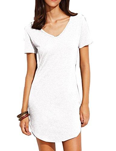 Haola Women's Summer Short Sleee Slim Fit Shirts Mini Dresses Juniors Dress Top S White
