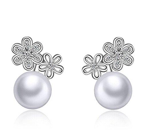 summens mujeres pendientes retro flor plata 925con Zircon y Perlen hipoalergénico