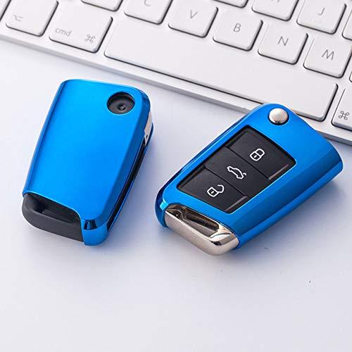 Funda de TPU para llave de coche, compatible con Volkswagen VW Golf 7 MK7 Seat Ibiza Leon FR 2 Altea Aztec, compatible con Skoda Octavia, B, azul