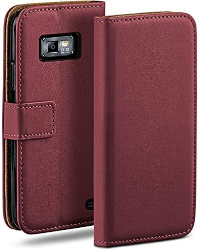 moex Klapphülle kompatibel mit Samsung Galaxy S2 / S2 Plus Hülle klappbar, Handyhülle mit Kartenfach, 360 Grad Flip Hülle, Vegan Leder Handytasche, Weinrot