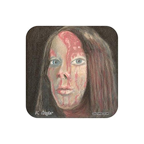 Coasteroo Carrie da Stephen King' s Carrie–sottobicchiere per bevande calde–9cm x 9cm–originale film a tema opera ritratto di Kev Guyler