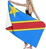NIUPEE Strandtuch Kidsbeach Towels Damen Herren Flagge der Demokratischen Republik Kongo Schnell Trocknende Mikrofaser Badetücher