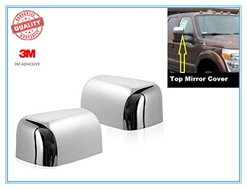 eLoveQ CHROME TOP HALF MIRROR COVERS FOR 2008-2016 FORD F-250/F-350/F-450/F-550...