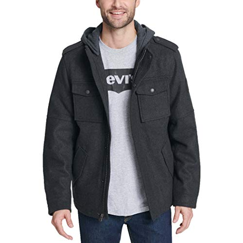 Levi's Men's Wool Blend Military Jacket with Hood, charcoal, Large