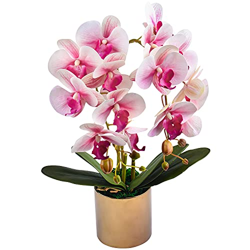 Flores de orquídeas Artificiales en macetas, orquídeas Falsas con jarrón de cerámica Dorada para Centro de Mesa, decoración del hogar, Oficina, decoración de Fiesta de Bodas (Rosa)