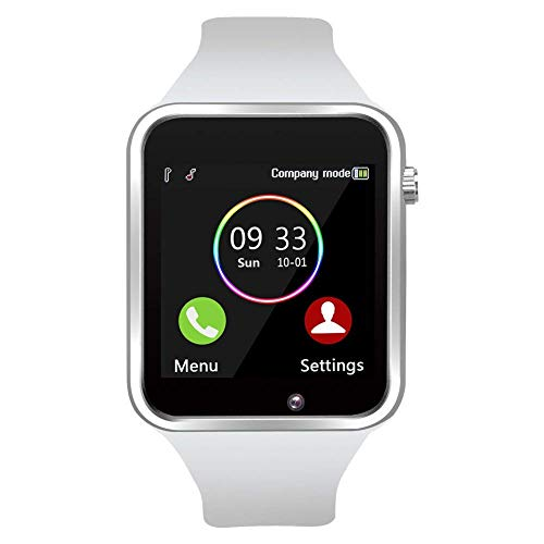 Wzpiss Smart Watch Bluetooth Smartwatch Touchscreen Wrist Watch Sports Fitness Tracker with Camera Pedometer SIM/SD Card Slot Compatible Samsung Android iPhone iOS for Kids Women Men (White)