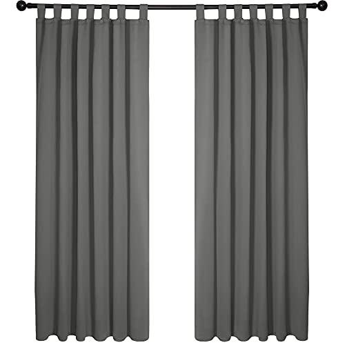 Deconovo Vorhang Blickdicht Schlaufen Verdunkelungsgardinen Gardinen Schlafzimmer, 175x140 cm(HöhexBreite), Hellgrau, 2er Set