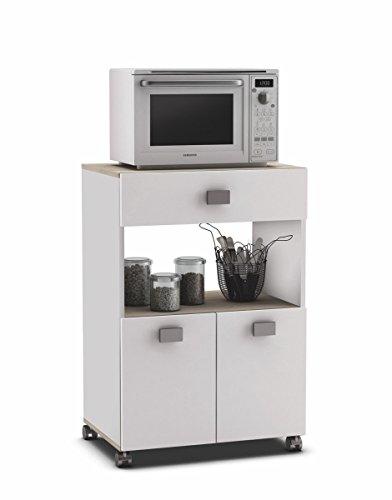 Armario buffe aparador Auxiliar bajo de Cocina. Blanco y Roble. Mueble de microondas y Almacenamiento