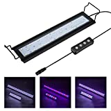 Hygger 9W Full Spectrum Aquarium Light with Aluminum Alloy Shell Extendable Brackets, White Blue Red LEDs, External Controller, for Freshwater Fish Tank (12-18 inch)