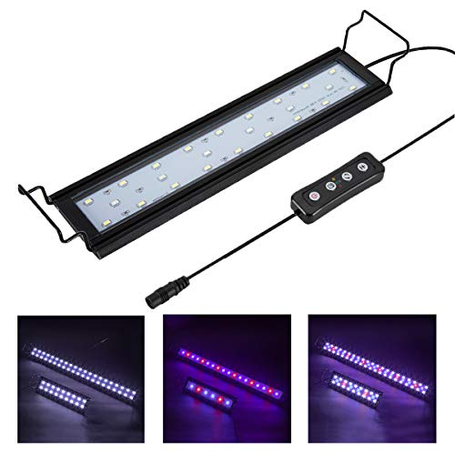 Hygger Aquarium Lighting Lámpara LED para acuarios con Temporizador, Regulable, luz LED para acuarios con Soporte Ajustable para Plantas de Peces de Acuario 26-46 cm, 9 W (Blanco, Azul y Rojo)