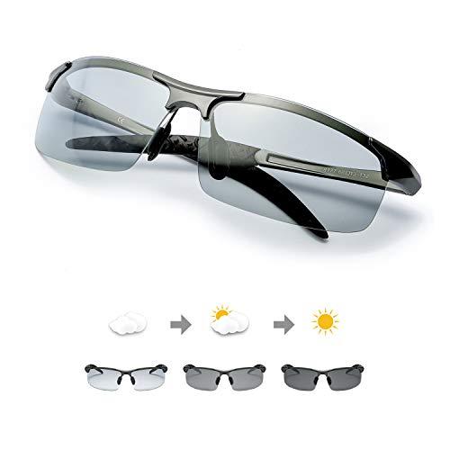TJUTR Rectangulares Gafas de Sol Hombre Polarizadas Premium Lentes Photochromic Grises Antideslumbrante -Protección UV 400 (Gris/Gris(Deportivas))