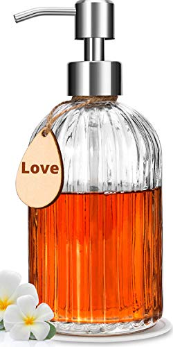 Soap Dispenser – Premium Quality – Large Size Hand & Dish Soap Dispenser – Rust Proof Stainless Steel Pump – Clear Glass – Ideal for Kitchen Dish Soap, Hand Soap, Essential Oil & Lotion – Sturdy