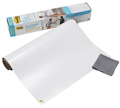Post-it,Lavagna Cancellabile Post-it Super Sticky in Rotolo,Lavagna Adesiva da Parete,Colore Bianco,91.4 X 121.9 Cm