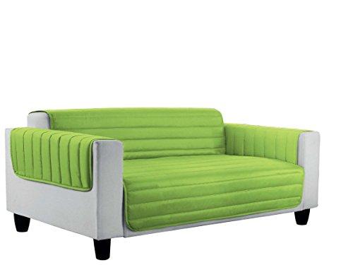 Datex Elegant Copri Divano a Doppia Faccia in Microfibra Anallergica, Multicolore Mela/Verde Scuro, 3 Posti