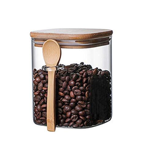 TAMUME Tarro de cristal con cuchara de madera, para azúcar y té (800 ml)