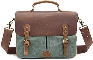Men Womens Leather Canvas Messenger Shoulder Satchel Crossbody Tote Bag 12 inch Laptop Briefcase Handbag (Color : Gray) Elise (Color : Green)