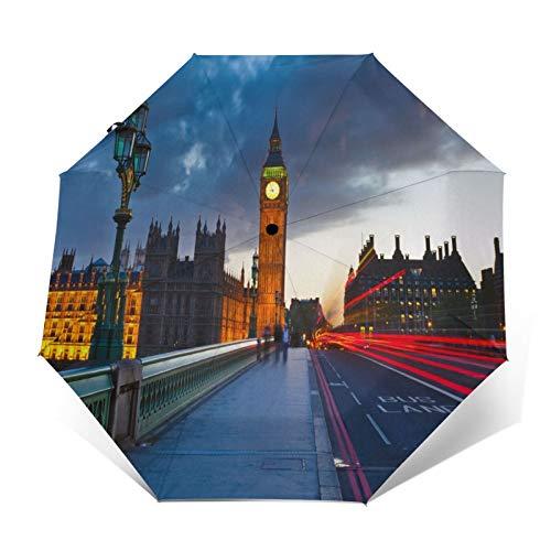 SUHETI Paraguas automático de Apertura/Cierre,Palacio de Londres Big Ben Tráfico Nocturno,Paraguas pequeño Plegable a Prueba de Viento