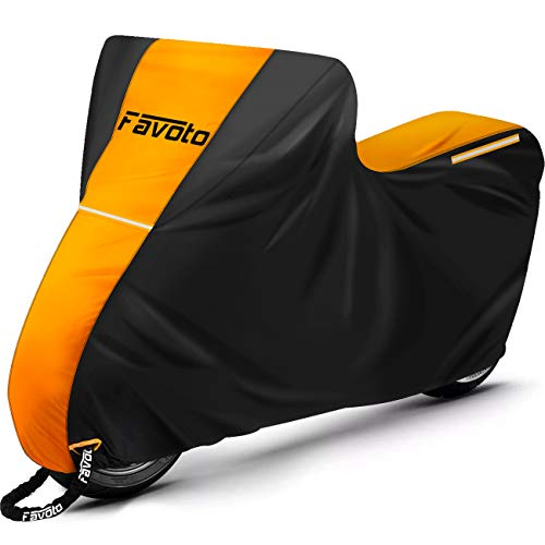 Favoto Motorcycle Cover 96.5 inches Length All Season Universal Weather Waterproof Sun Outdoor Protection Durable Night Reflector with Lock-Holes & Storage Bag Motorbike Vehicle Cover Orange Black