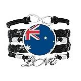 Bracelet à tricoter en cuir torsadé avec motif drapeau de l'Australie