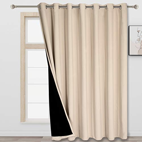 FLOWEROOM Room Divider Curtain, 8.3 ft Wide x 7 ft Long, Beige – 100% Blackout Curtains for Bedroom Partition/ Living Room/ Shared Office, Large Thermal Grommet Privacy Curtain Panel for Sliding Door