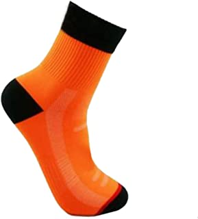 Muzhili3 - Calcetines Largos Unisex Transpirables para Ciclismo, Running, Baloncesto, Calcetines Deportivos elásticos Naranja Naranja