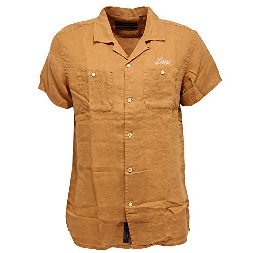Deus Ex Machina 8421AA Camicia uomo Linen Brown Garment DYED Shirt Man [XL]
