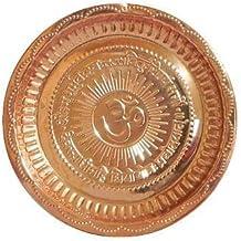 Style OK Aarti Thali Copper Om Gayatri Mantra Plate 11.5 Inches Puja Thali