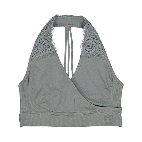 BRABAR Hug T-Back Lace Bralette, 28-32 C-DDD, Natural Grey