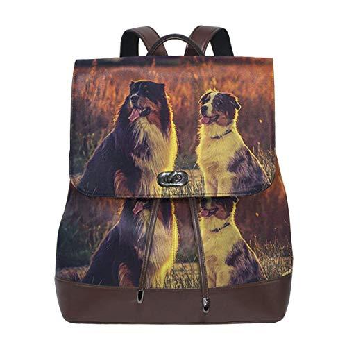 SGSKJ Rucksack Damen Australischer Schäferhund 1, Leder Rucksack Damen 13 Inch Laptop Rucksack Frauen Leder Schultasche Casual Daypack Schulrucksäcke Tasche Schulranzen
