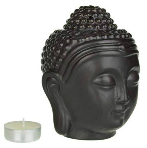 Diffusore di aromi a forma di testa di Buddha, grande Nero