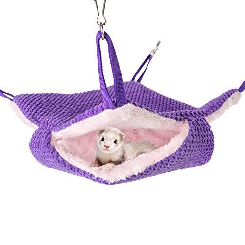 Niteangel Haustier-Hängematte, Schaukel für Frettchen, Ratten, Suger Glider Eichhörnchen, Schlafsack, violett