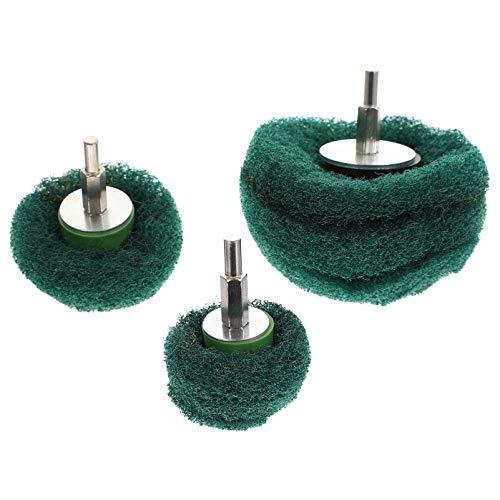 EXCEART Juego de Rueda de Pulido de Pulido Abrasivo de 3 Piezas Kit de Pulido de Cepillo de Mini Estropajo de 6 Mm para Herramienta Giratoria Verde