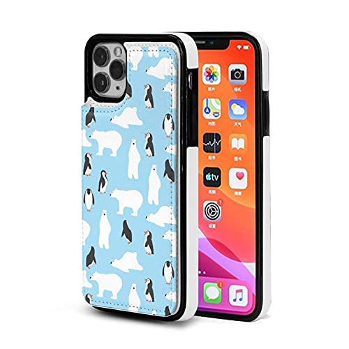 XIANGYANG Estuche para teléfono,Lindos Osos Polares con Estuche de pingüinos para iPhone 11 Pro MAX 6.5 Estuche con Tarjetero para Mujeres y Hombres Estuche Lindo para Billetera