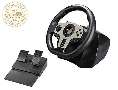 Superdrive - Volante da corsa V900 con pedali, palette del cambio e vibrazioni per PS4, Xbox One, Switch, PC, PS3