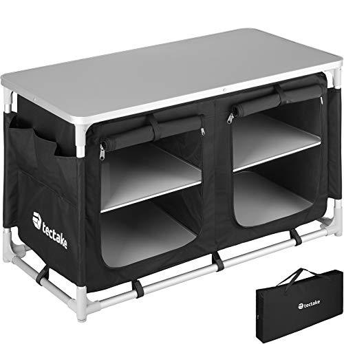 TecTake 800747 Cocina de Camping, Aluminio, Plegable para Exteriores, Patas Ajustables, Compartimentos, Negro, Incl. Bolsa de Transporte - Varios Modelos (Tipo 4   No. 403347)