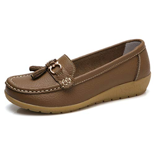 Woman Slip On Loafers Shoes Shallow Leather Soft Sole Casual Round Toe Walking Moccasins Flats Khaki